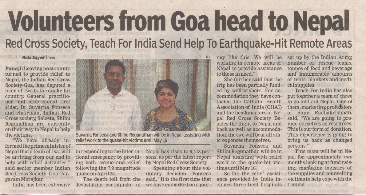 Volunteers from Goa reach out to Nepal
