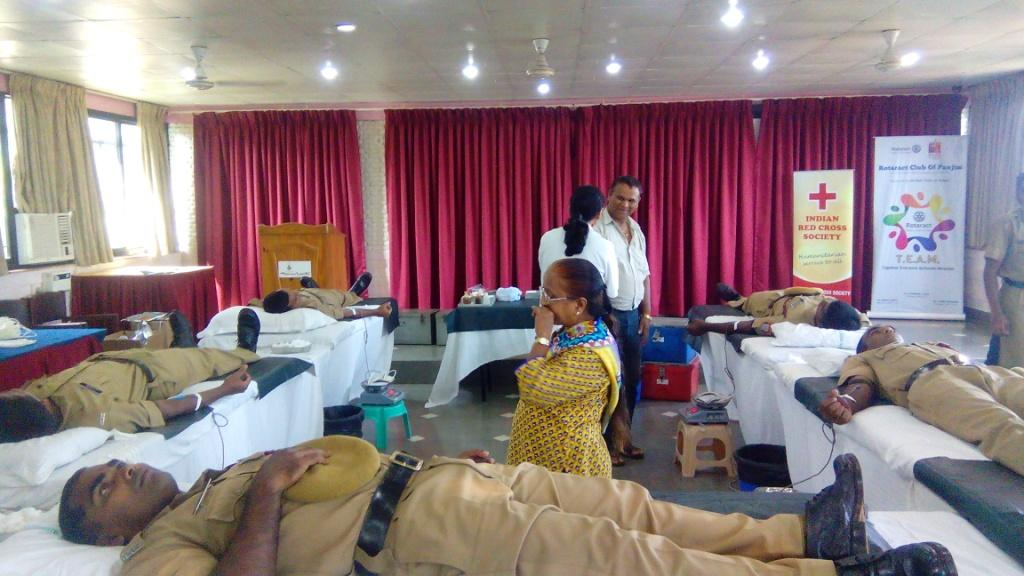 Fire Service personnel seen donating Blood